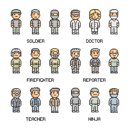 users video: Pixel art collection of different professions