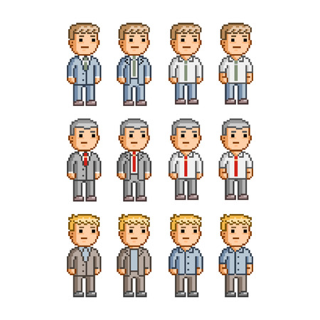 pixel art: Pixel art collection of different characters for business Illustration