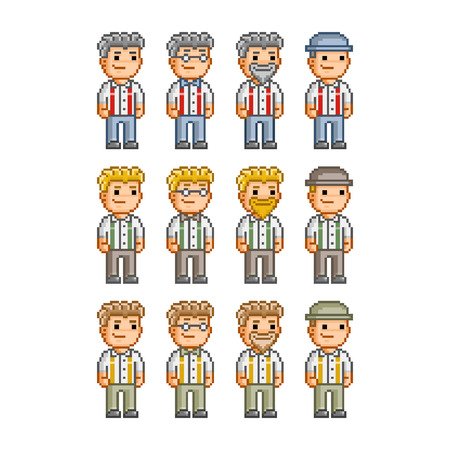 Pixel art collection of different characters for business Vector