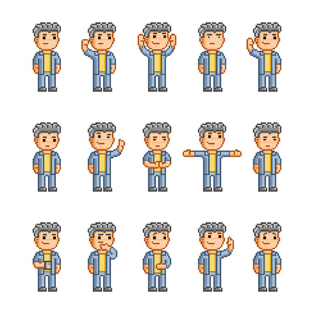 Pixel art collection of different emotions and actions