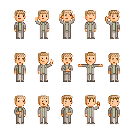 tea breaks: Pixel art collection of different emotions and actions