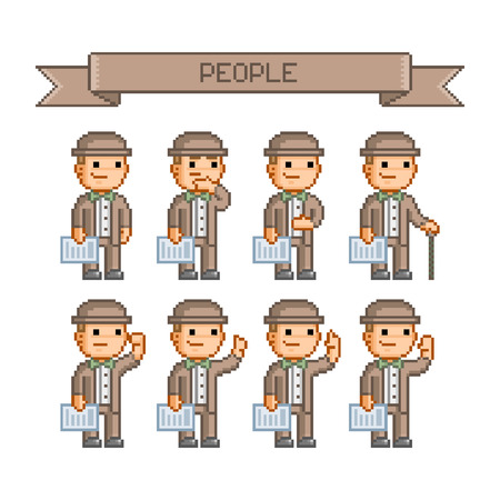 funny people: Pixel art collection retro for business Funny people Vector Illustration