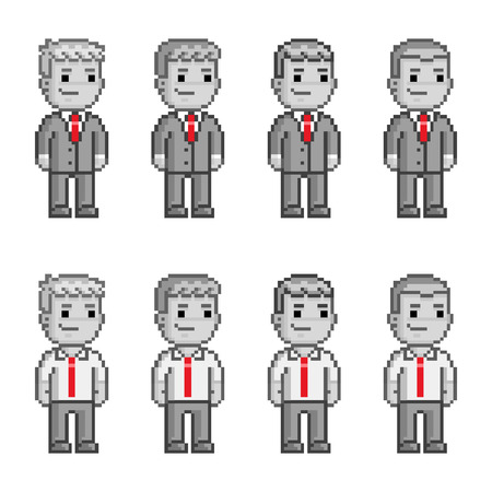 funny people: Pixel art people in red ties Funny people Illustration