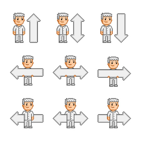 funny people: Pixel art collection arrows and man Funny people Illustration
