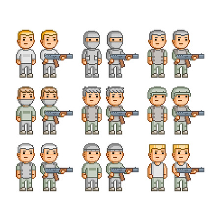 Pixel art collection of armed soldiers Vector Illustration