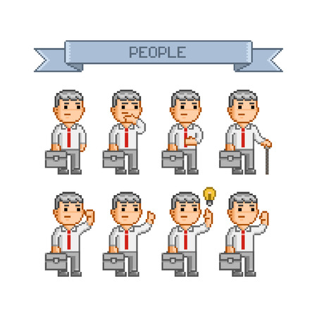 funny people: Pixel art collection for business Funny people Vector Illustration