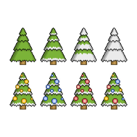 pixel art christmas trees for games and web design vector - Christmas Tree Games
