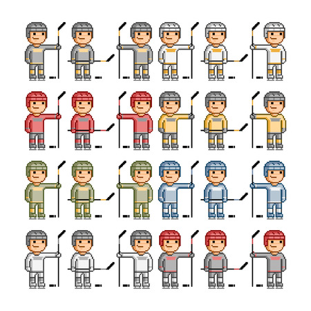 hockey players: Vector pixel art funny hockey players Vector Illustration