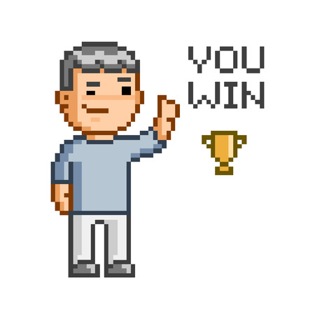 win: Vector pixel art You win for games Illustration