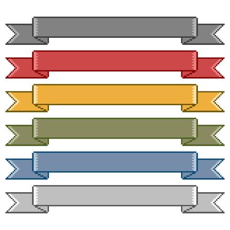 Nastri Vector pixel art colorati per la progettazione