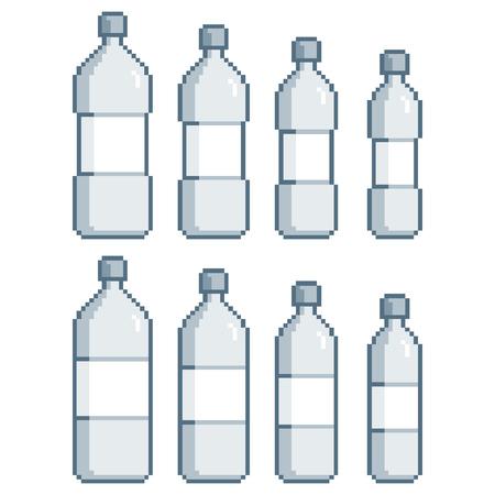 glass water: Vector pixel art collection bottles for design Illustration