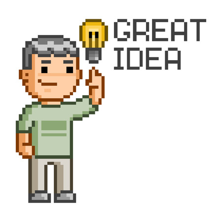 great: Vector pixel art great idea for design Illustration