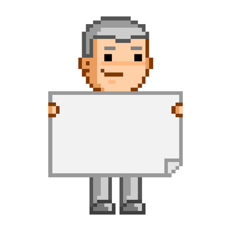 pixel art: Vector pixel art person and the document Illustration