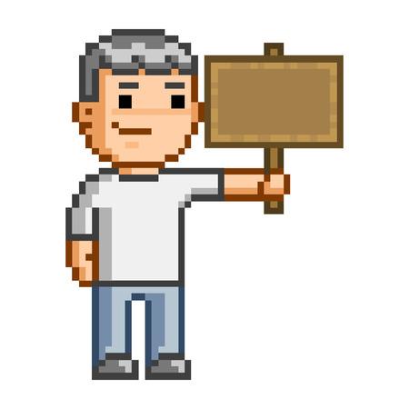 placa bacteriana: Placa de madera del vector del arte del pixel para el diseño Vectores