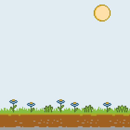 Vector pixel art sunny day for games and design