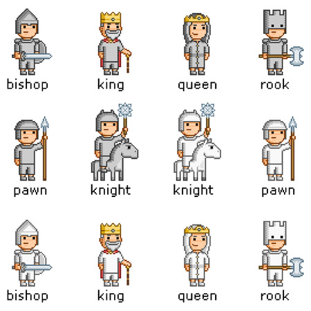 Vector pixel art set of chess pieces
