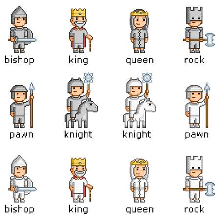 Vector pixel art set van schaakstukken