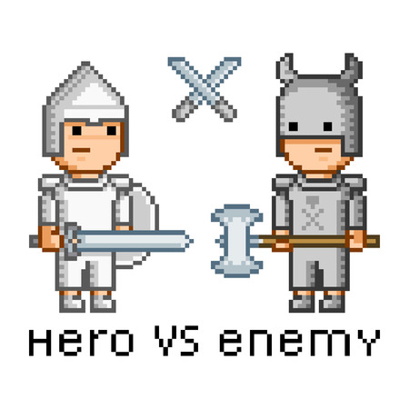 enemy: Vector pixel art hero and enemy for game Illustration