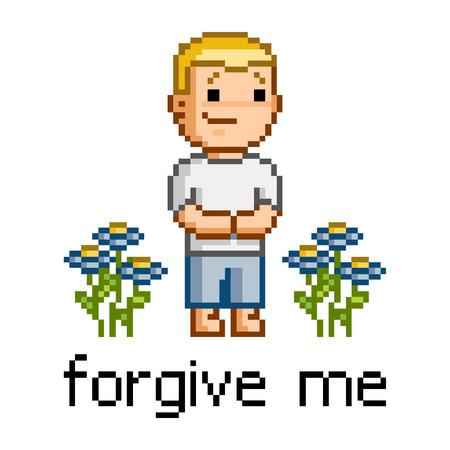 forgive: Vector pixel art forgive me for design
