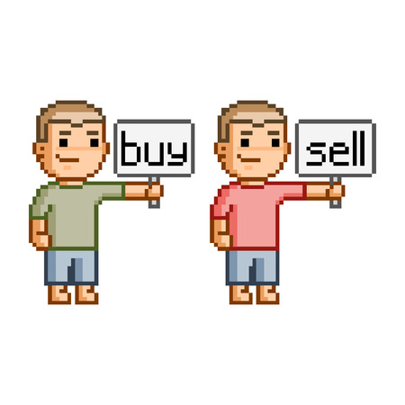 pixel art: Vector pixel art buy and sell for design Illustration