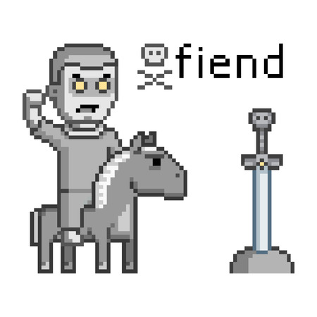 enemy: Vector pixel art enemy warrior on a horse