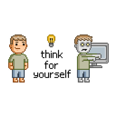 corpse: Think for yourself. Pixel art zombie, tv and man Illustration