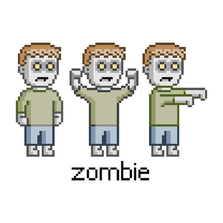 Pixel art set zombie for game and design Illustration