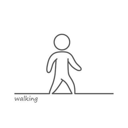 blacks: Vector outline shape of a walking man