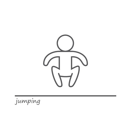 blacks: Vector outline shape of a jumping man