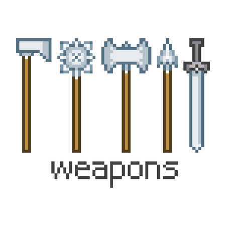 longsword: Vector pixel art weapons for game and design