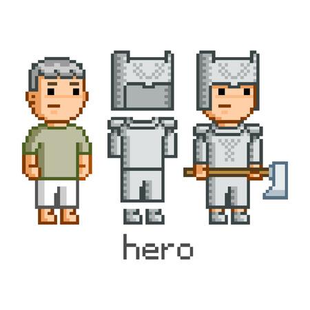 Vector pixel art hero for game and design Illustration