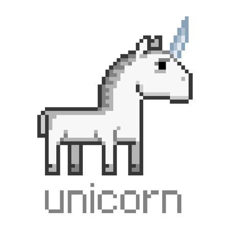 Pixel art unicorn for game and design