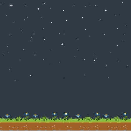 Vector pixel art night and the stars