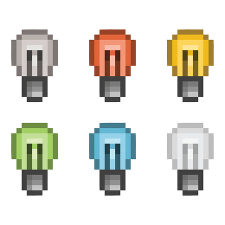 Vector pixel art set lightbulb for games and design Ilustração