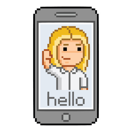 vibrate: Pixel art smartphone, hello message and girl