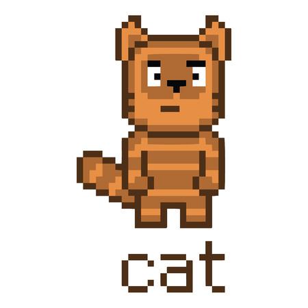 tabby cat: Pixel art cute tabby cat for games