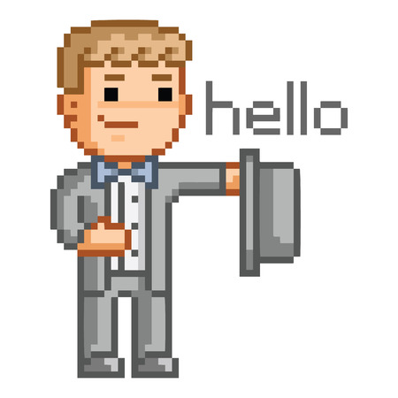 says: Pixel art man in a suit says hello