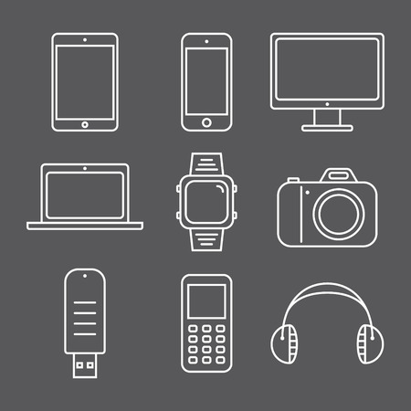 gadgets: Set of pictures line gadgets. Smartphone, tablet and laptop