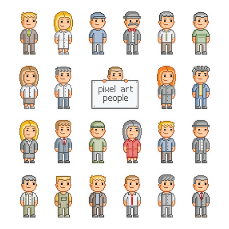 pixelart: Pixel set of smiling people for games and design