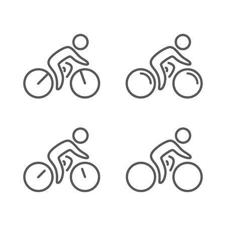Outline figure bicyclist on a bike Vector set Imagens - 39761907