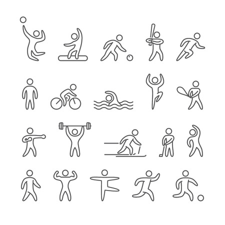 outline of: Outline figure athletes, popular sports
