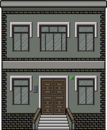 Pixel art house for background for games and design
