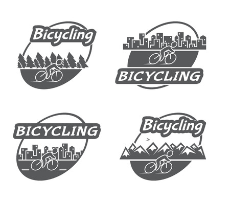 bicycling: Retro logo bicycling. Bicycle and cyclist. Vector
