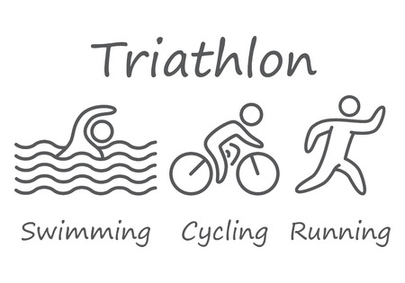 gente corriendo: Contornos de atletas cifras triatlón. Natación, ciclismo y carrera simbols vectoriales.