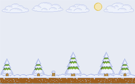 christmas snow scene: Vector pixel art winter day for video games and web design