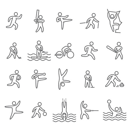 acrobatics: Outline figure athletes. Icons popular sports. Linear vector set. Running, cricket, hockey, baseball, rugby, kickboxing, acrobatics, dance, basketball and other. Illustration