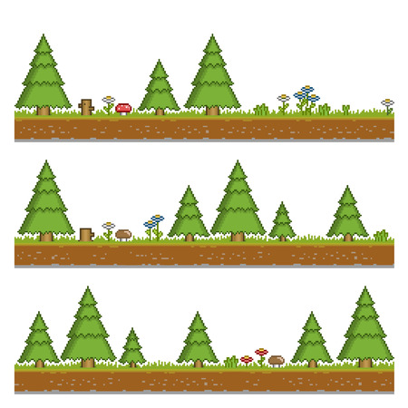 pixels: Vector pixel art forest green background and texture for games and design
