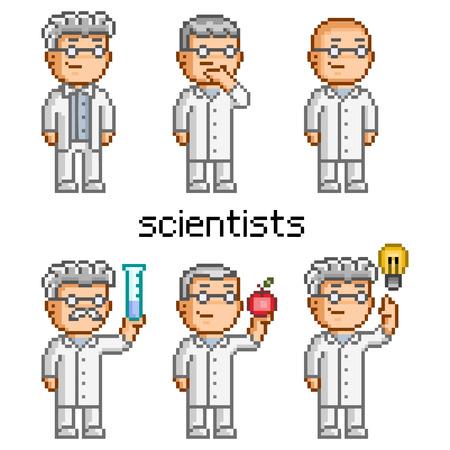 chemist: Vector pixel art scientist. Doctor, professor, teacher, chemist and biologist.