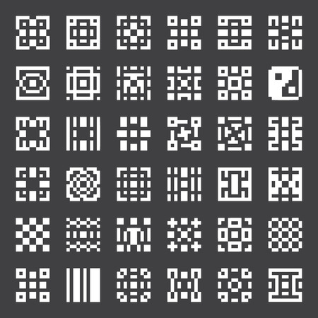 Vector geometric elements, pixel art collection, minimalism symbol, abstract pattern for design logo, cards, backgrounds, etc