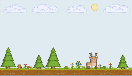 pixel art zonnige dag voor games en design Stock Illustratie